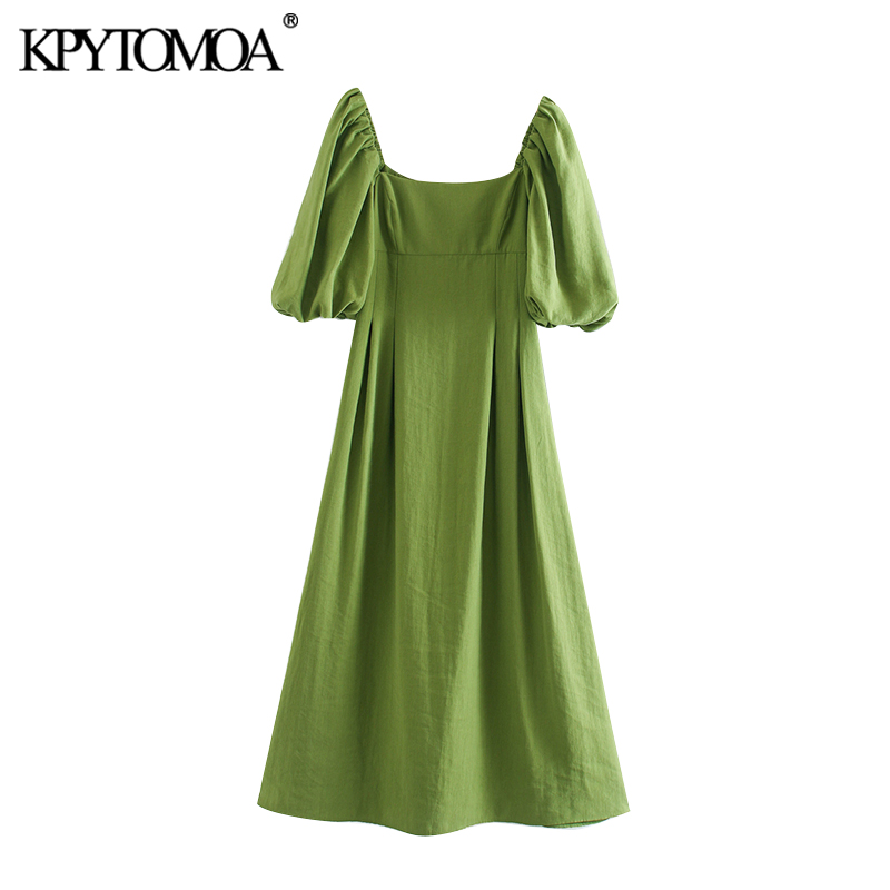 KPYTOMOA Women 2020 Elegant Fashion Puff Sleeve Midi Dress Vintage Square Collar Side Zipper Female Dresses Chic Vestidos Mujer