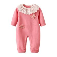 Newborn Baby Girls Lace Ruffle 3D Butterfly Long Sleeve Knit Rompers Jumpsuits Rose Red Baby Outfits 3 6 9 12 18 Months все цены