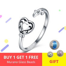 цена на Hot 925 sterling silver Luxury Hollow heart open size adjustable finger rings for Women Sterling Silver Jewelry Gift 2019 New