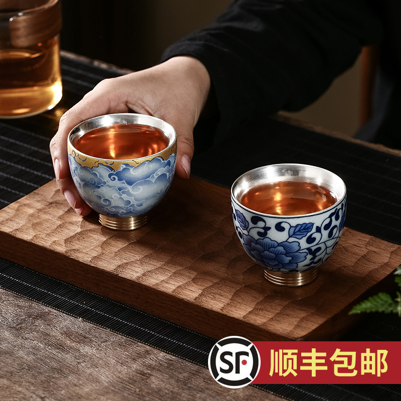 S999 sterling silver cup handmade ceramic kung fu teacup liner silver-plated master cup silver tea bowl sketch teacup single cup
