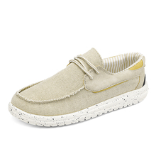 2021 Summer Men's Canvas Boat Shoes Brand Outdoor Breathable Soft Slip-On Loafers Fashion Casual Light Beach Shoes Big Size 48