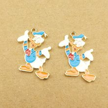 10pcs 18x25mm enamel cartoon charm for jewelry making and crafting fashion earring pendant bracelet necklace charms(China)
