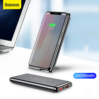 Baseus 10000 mah qi banco de potência carga sem fio rápida chage 3.0 usb pd carregamento rápido powerbank bateria externa para ip para xiaomi