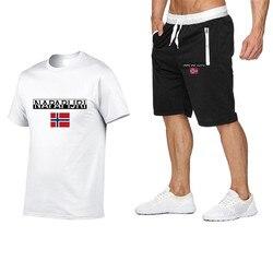Zomer Mode T-shirt 100% Katoen Shorts Print Pak Hip-Hop Casual T-shirt + Shorts Strand Sport Jogging Mannen Twee stuk Set