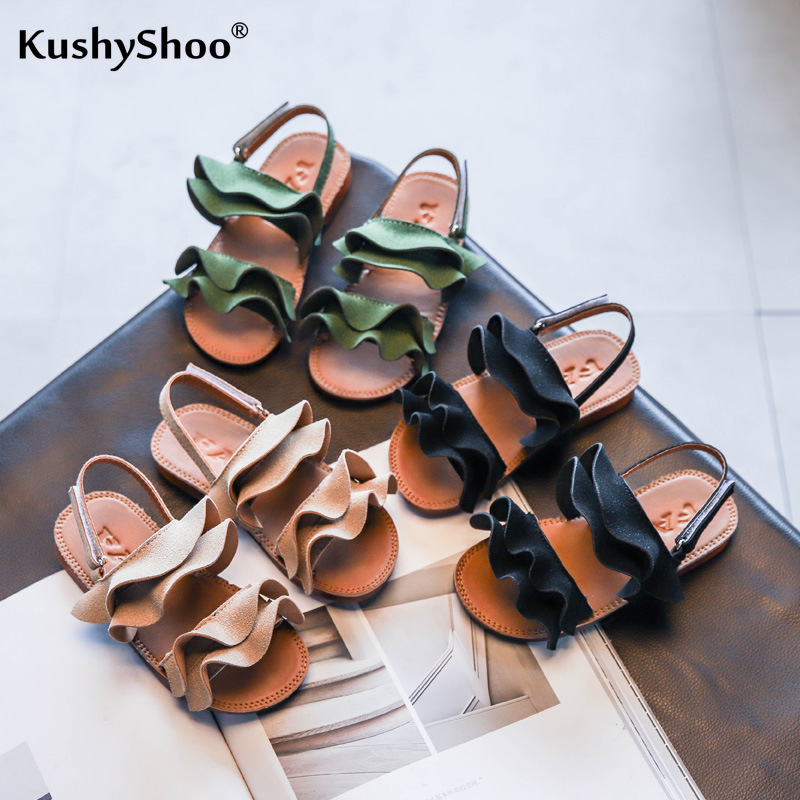 KushyShoo Girls Sandals 2020 Summer New Children's Korean Ruffles Princess Shoes Big Children  Beach Shoes Toddler Girl Sandals