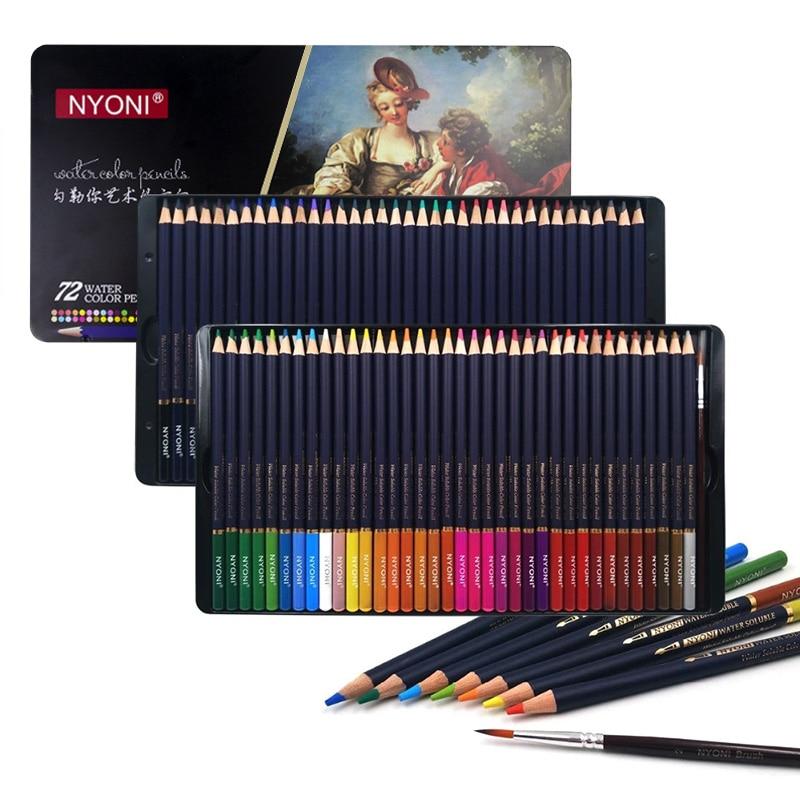 Professionelle Aquarell Bleistift 12/24/36/48/72 Farben Weiche Wasser Löslich Farbige Bleistifte Für Malerei Student Künstler Kunst Liefert