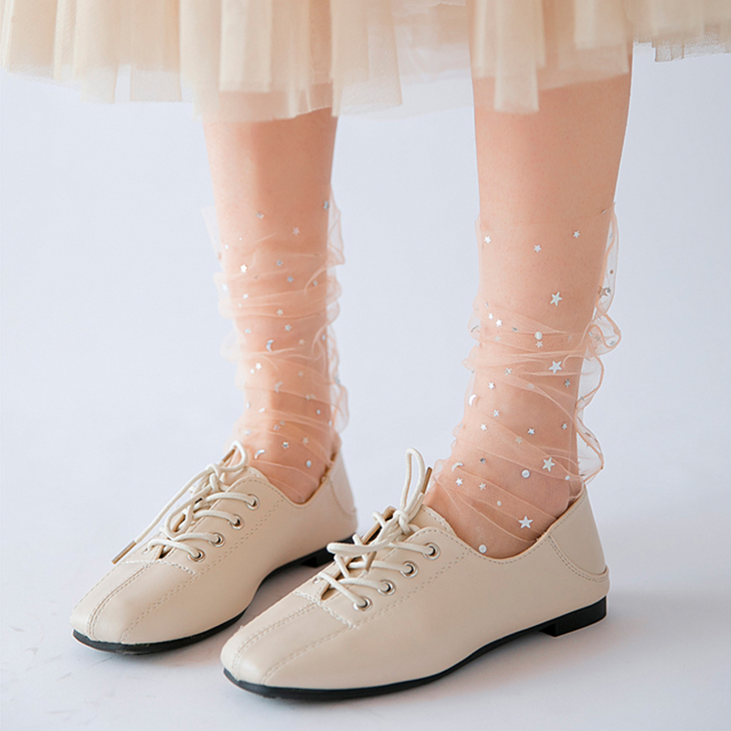 2019 Summer Tulle Transparent Socks Women Girls Shiney Star Moon Thin Socks Long Breathable Soft Funny Socks Female Hosiery