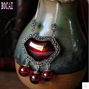 S925 sterling silver Thai silver  pendants sterling silver garnet / opal necklace pendant retro female clavicle pendant