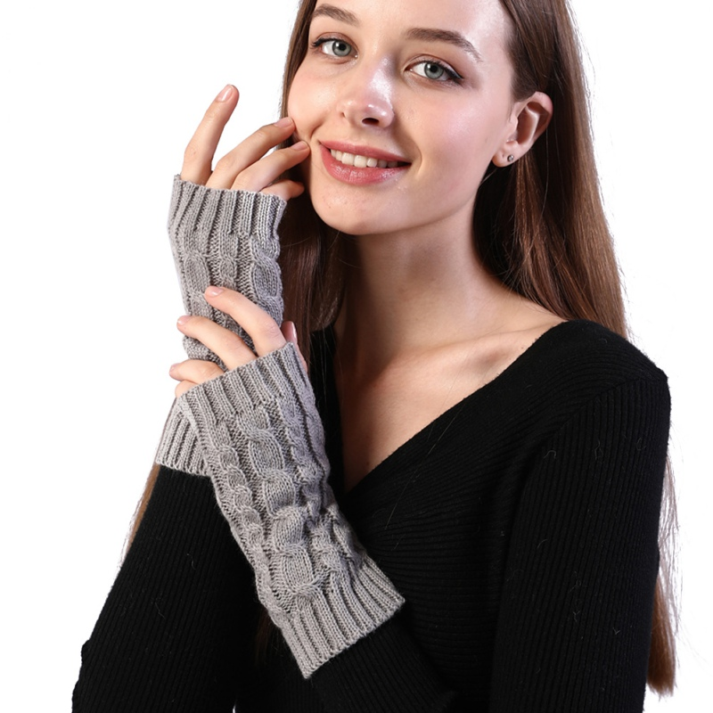 Arm Warmers Winter Combing Fine Wool Cable Fingerless Gloves Women Thick Soft Knitted Woolen Thumb-hole Arm Sleeve