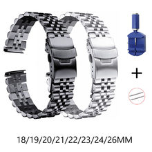 316L Stainless Steel Watch Band 18mm 19mm 20mm 21mm 22mm 23mm 24mm 26mm Watch Strap Men Women Double Lock Buckle Watchband