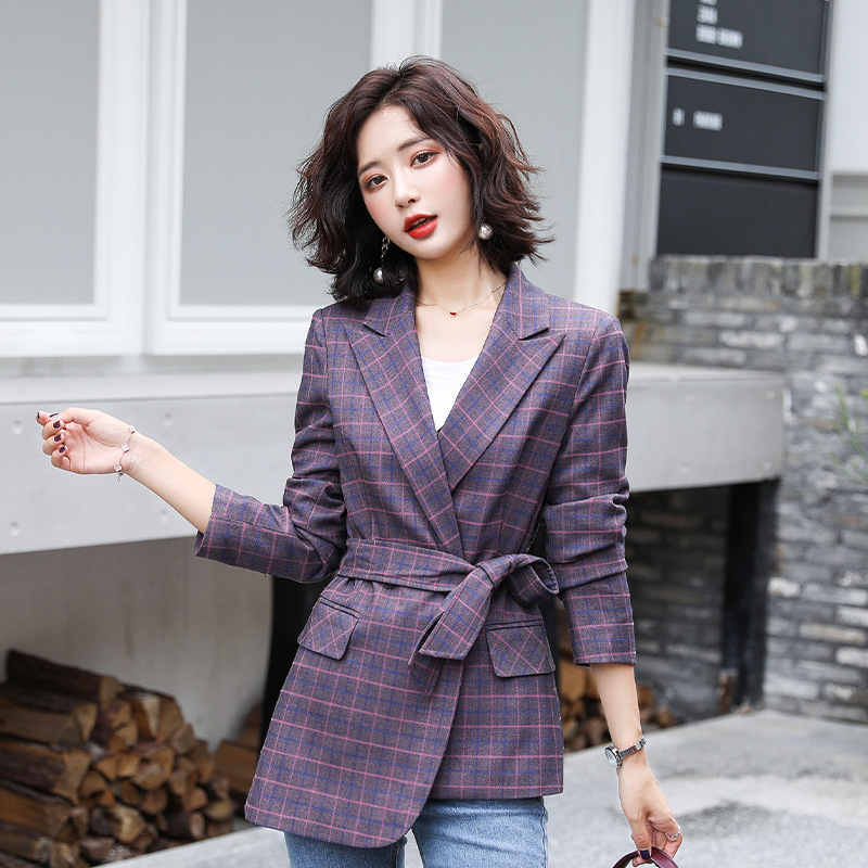 Temperament Casual Women's Plaid Blazer Trendy Slim Purple Plaid Suit Woman High Quality Autumn Office Jacket White Collar Suit