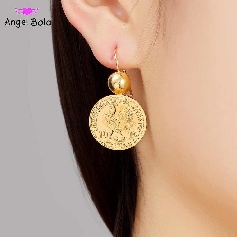 Висячие серьги-подвески с гравировкой в виде монеты для женщин