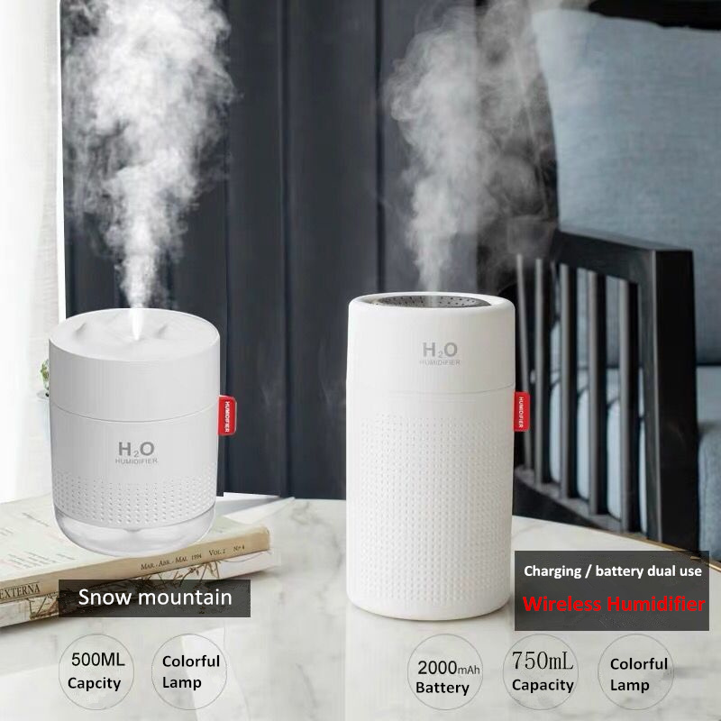 500ml 750ml 2000mAhBattery Wireless Air Humidifier Aromatherapy Electric Humidificador Ultrasonic Aroma Diffuser Mist Maker Home