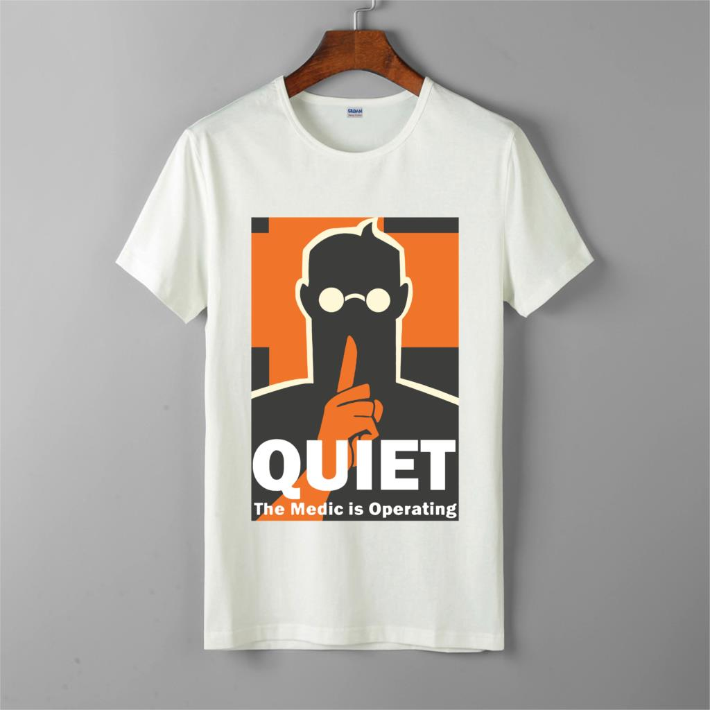 medic <font><b>team</b></font> <font><b>fortress</b></font> <font><b>2</b></font> tf2 tshirt quiet medic is operating video game <font><b>shirts</b></font> men's short sleeves tops tee printed unisex t-<font><b>shirt</b></font> image