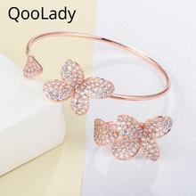 QooLady New Fashion Design Rose Gold Cubic Zirconia Flower Adjustable Open Cuff Bangle Bracelet Ring Jewelry Sets for Women Z014 цена