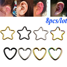 8PC 316l Surgical Steel Daith Heart Star Ring Cartilage Tragus Piercings Hoop Lip Nose Rings Orbital Ear Stud Helix Jewelry 20G
