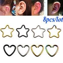 8PC 316l Surgical Steel Daith Heart Star Ring Cartilage Tragus Piercings Hoop Lip Nose Rings Orbital Ear Stud Helix Jewelry 20G 1 2mm 316l surgical steel scorpion pattern ear bar stud silver black