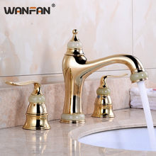 Basin Faucets Marble with Jade Bathroom Taps 3 Hole Classic Home Decoration Lavatory Crane Hot and Cold Mixer Faucet OWO-S79-32(China)