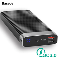Baseus 20000mAh Power Bank Quick Charge 3.0 Fast Charging USB Type C PD Powerbank Portable External Battery Charger For Xiaomi|Power Bank| |  -