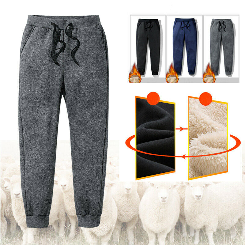 Men Thick Fleece Thermals Trousers Outdoor Winter Warm Casual Pants Joggers Sports SER88
