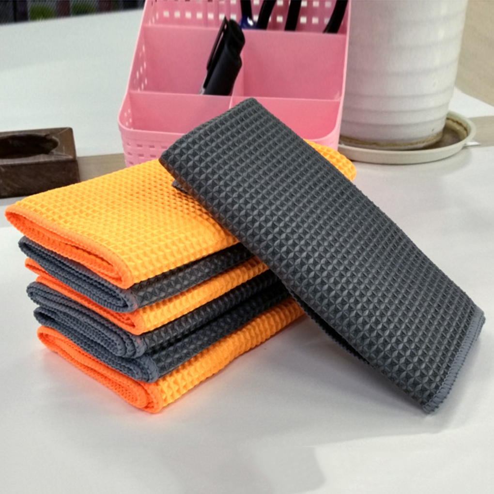 Microfibre Car Cleaning Cloths Waffle Polishing Wipe Auto Cleaning Absorbent Drying Towel
