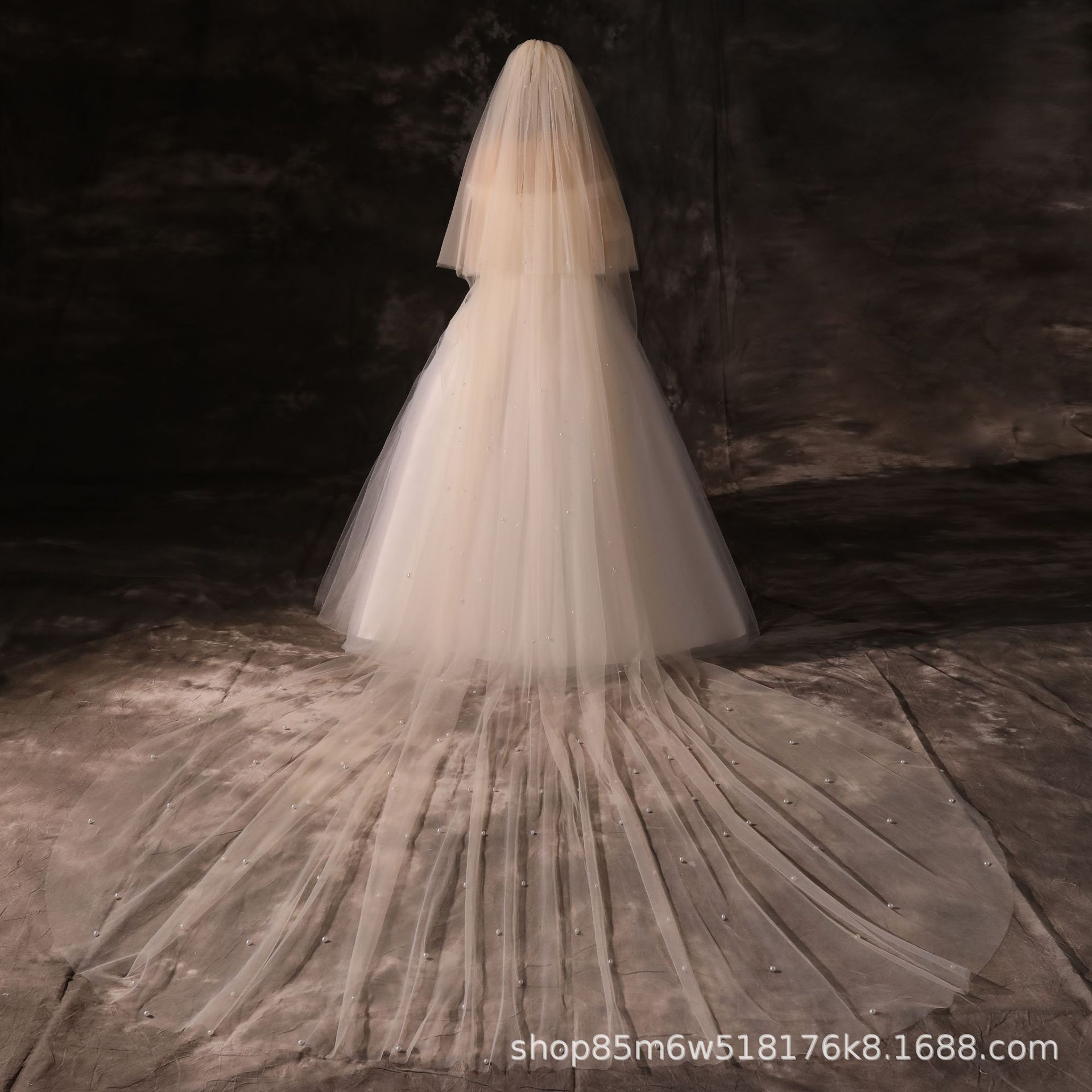 New Style Champagne Color Veil Super-Long And Large-Tailing Pearl Veil Photo Shoot Bride Wedding Accessories Double Layer Comb V