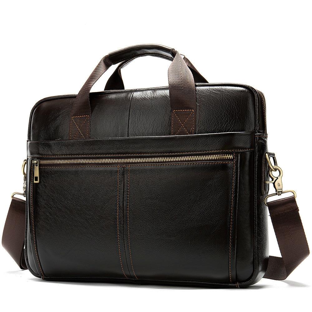 Genuine Cowhide Leather Business Affairs Man Portable Briefcase Concise Solid Color Single Shoulder Package Messenger Bag Men