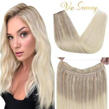 VeSunny Adjustable Invisible Wire Halo Hair Extensions Real Human Hair with 2 Clips Remy