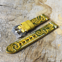 Vintage Watch Strap Carved Embossed Band Handmade Watchband 22mm Buckle Engraved Clasp for Accessories