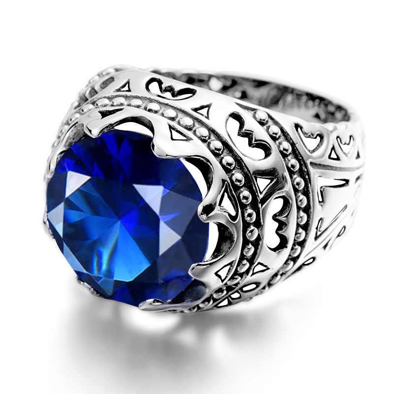 Anillos de zafiro azul Szjinao, Plata de Ley 925, anillo redondo de piedras preciosas talladas, Vintage para mujeres y hombres, joyería étnica de moda de marca