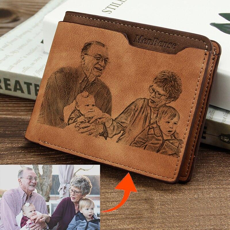Men's Tri-Fold Waterproof Short Wallet Multifunction Casual PU Leather DIY Engraving Wallet Custom Pattern Engraving Wallets
