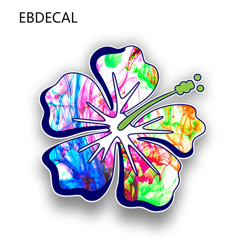 EBdecal  Hibiscus Flower Sticker Decal   For Auto Car/Bumper/Window/Wall Decal Sticker Decals DIY Decor CT11876