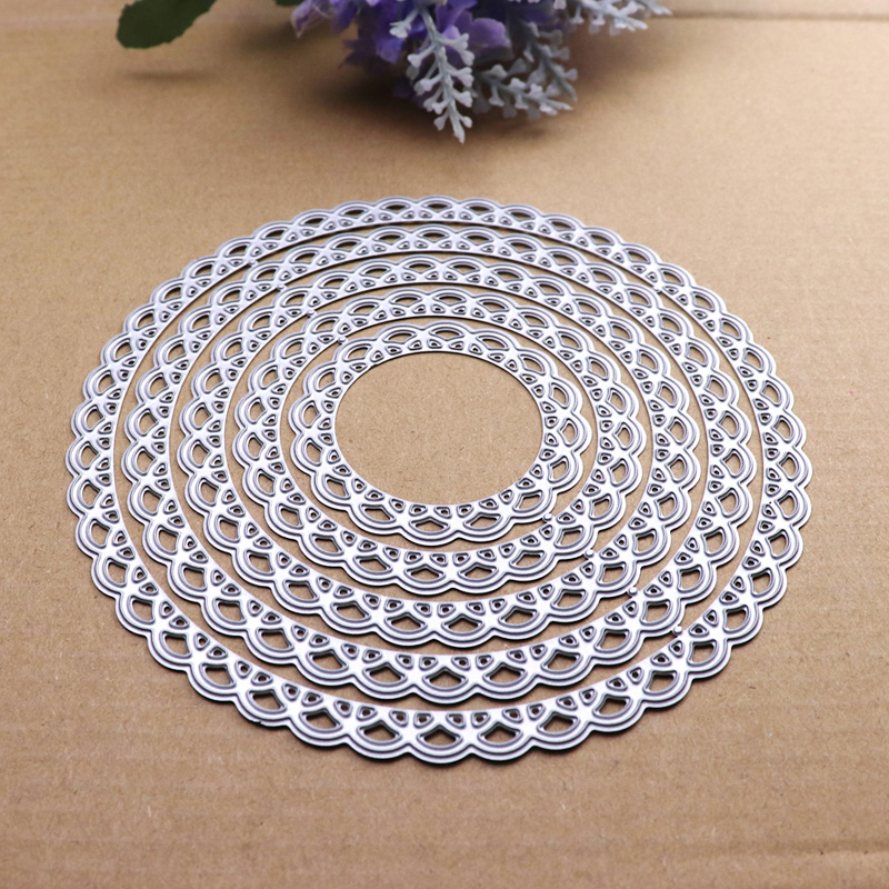 12cm Lace Round Die Circle Metal Cutting Dies Scrapbooking Die Cut for DIY Photo Album Card Craft Paper Embossing Supplies 3