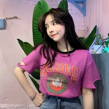 Fashion Casual 2019 B Summer Women\'s Round Neck Cartoon Letters Print Cotton Short Sleeve Loose Pullover Hole Female T-Shirt round neck letters print short sleeve cotton men s t shirt