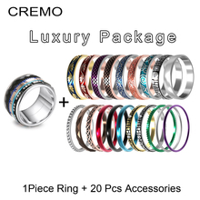 Cremo Newness Interchangeable Rings Spinner Bule Enamel Stackable Ring Arctic Symphony Stainless Steel Band Collection Rock