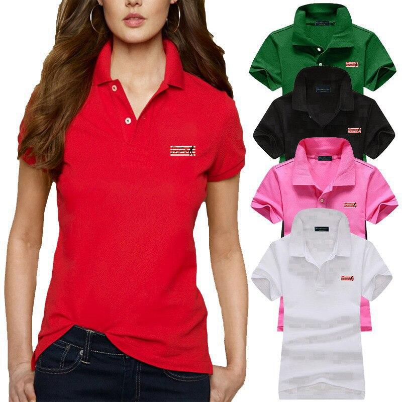 Good Quality Summer New Style Womens Short Sleeve Polos Shirts 100% Cotton Casual Womens Lapel Polos Fashion Slim Women Tops