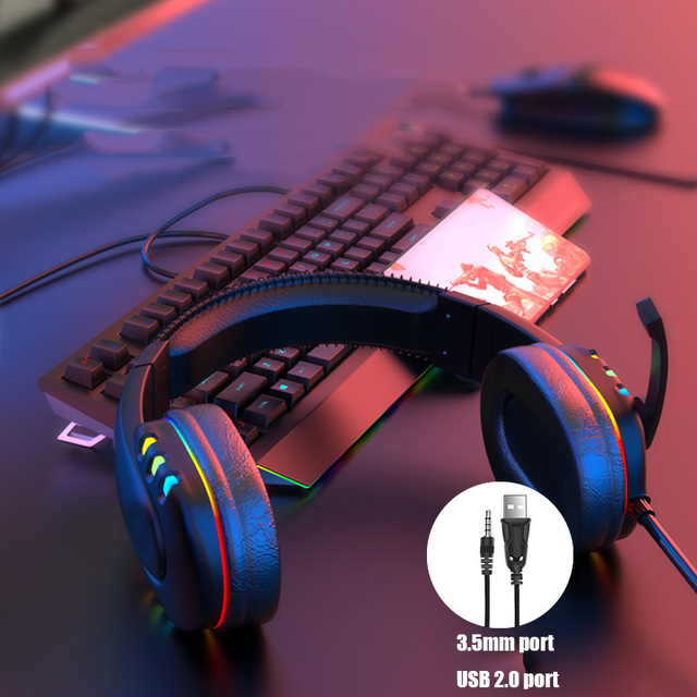 Gaming Headsets With Microphone PC Gamers Headsets Wired Headphones Backlit RGB Headset For Computer Tablet For Xbox One PS4 PS5 5