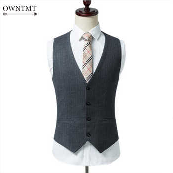 Spring Autumn Man Fashion Suit Vest Male Plaid Suit Waistcoat Formal Business Wedding Slim Dress Vests Men Work Waistcoat 6XL