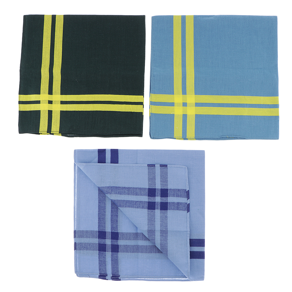 3Pcs Pure Cotton Man Pocket Hankies Hanky Kerchiefs Retro Mens Handkerchiefs Square Plaid Stripe Handkerchiefs Classic Vintage