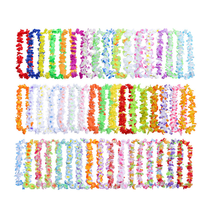 50/100pcs Hawaiian Flower leis Garland Artificial necklace Luau Party Supplies Flowers Beach Fun wreath DIY gift Decoration