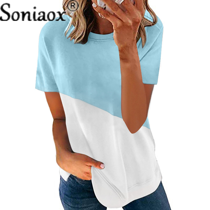 2021 New Women T Shirt Loose O-Neck Ladies Tops Casual Short Sleeve Patchwork Tee Summer Fashion Streetwear Female Plus Size Top