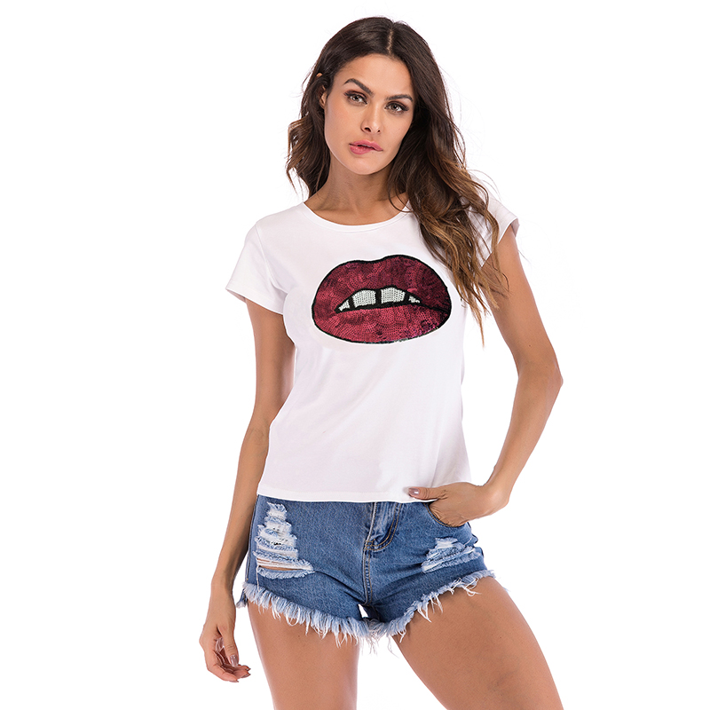 T Shirt Women Big Red Great Green Lips Tshirt Women Clothes 2019 Short Sleeve Casual Cotton Tee Shirt Femme S M L XL XXL 5273 in T Shirts from Women 39 s Clothing