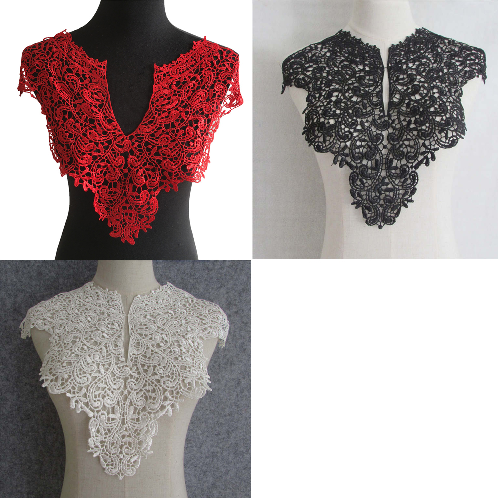 DIY Fashion Floral Collar Crochet Lace Neckline Clothes Sewing Applique