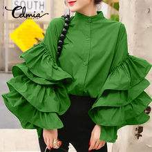 Celmia Stylish Big Flare Sleeve Shirts Women Ruffled Shirt 2021 Autumn Casual Long Sleeve O-Neck Buttons Elegant Blusas Tops 5XL