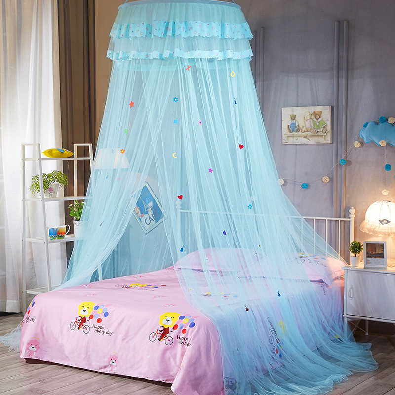 Dome hanging mosquito net encryption heightening ceiling lace princess dome court landing mosquito net cartoon