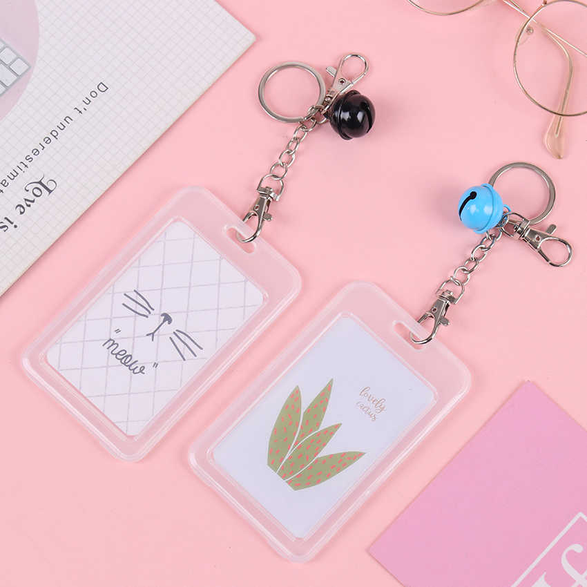 1PC Transparent Card Cover Keychain Meal Card Student Access Bus Card Set ID Card Badge Holder