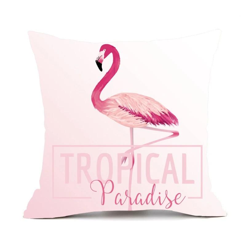 Plush Velvet Pillowcase Cushion Cover Pink Flamingo