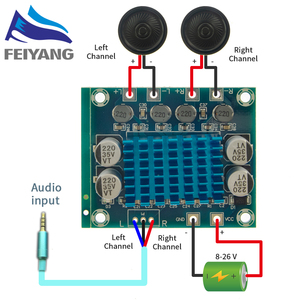 Image 1 - 10Pcs TPA3110 XH A232 30W + 30W 2.0 Kanaals Digitale Stereo Audio Power Amplifier Board Dc 8 26V 3A