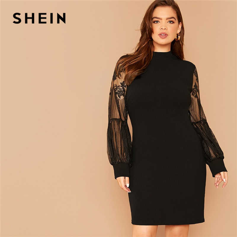 SHEIN Plus Size Black Mock-Neck Lace Lantern Sleeve Solid Dress Women Summer Autumn Plus Elegant Fitted Short Dresses