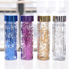 600ML Sequins Double-deck Water Bottle Fashion Shiny Portabl